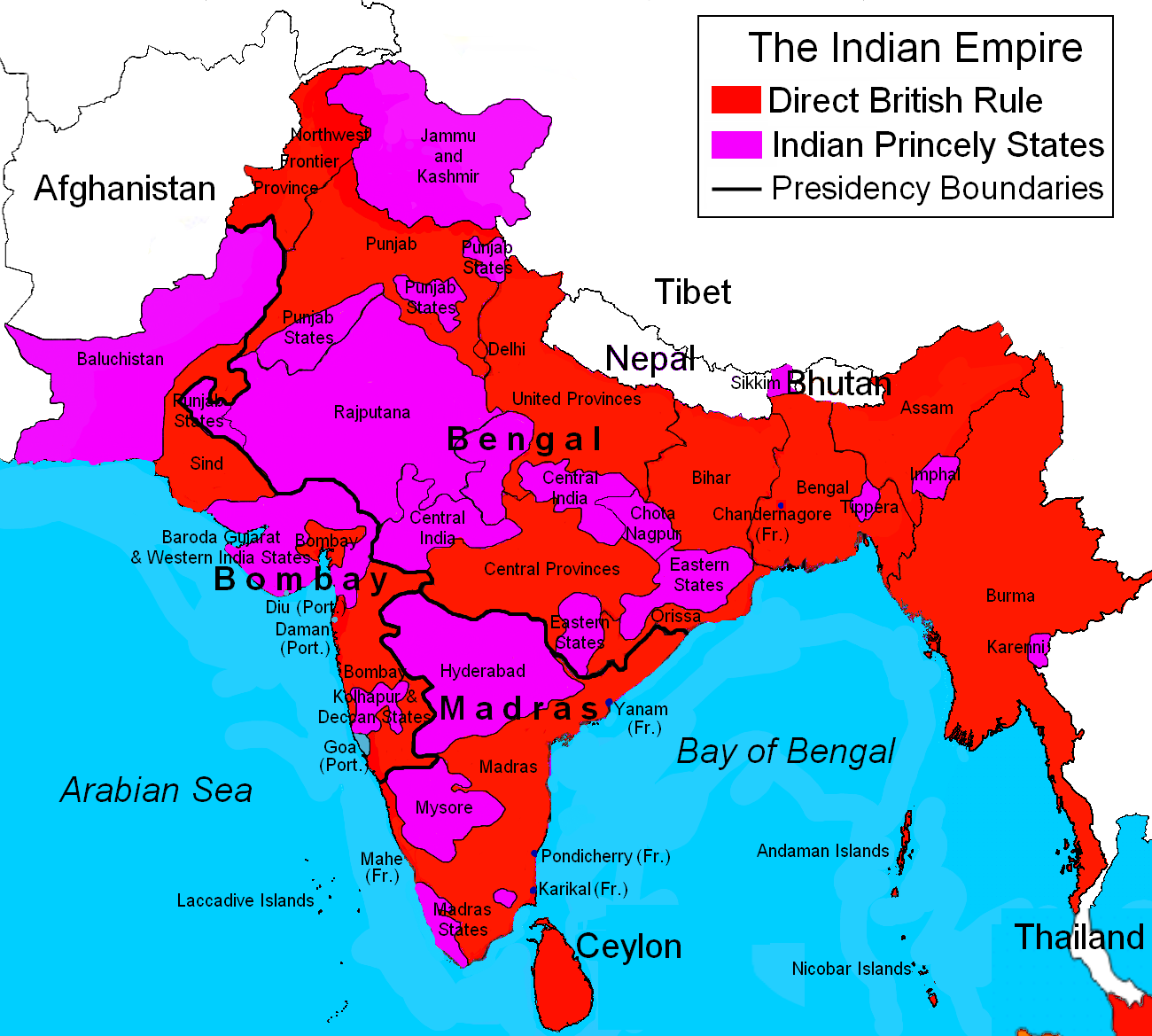 British Ruled India Map